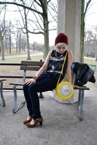 yellow clock purse vintage purse - brick red beanie thrifted hat