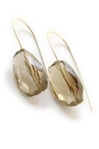 14K Hand-Tied Dangles, Smoky Topaz Faceted Nuggets