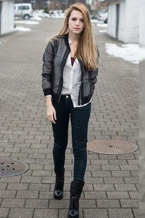H&M jacket - Alexander Wang boots - Zara blouse