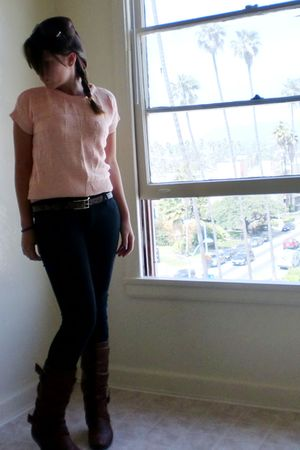 pink vintage from my mum sweater - brown banana republic belt - black Forever 21