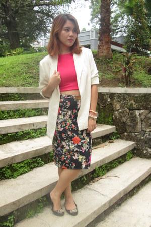 vintage blazer - Zara skirt - John Brianne top