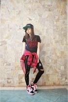 black H&M hat - Choies leggings - supra Target sneakers