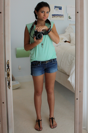 Urban Outfitters t-shirt - Hollister Co shorts - sam edelman shoes - Gap belt -