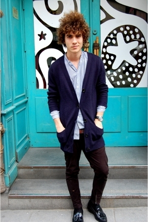 blue Zara jacket - black Sebago shoes - blue vintage shirt - black vintage pants