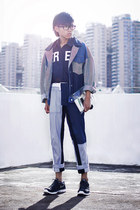 navy multi-denim choiescom jacket - blue patchwork denim 31 Phillip Lim jeans