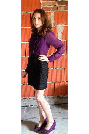 black H&M skirt - purple Vero Moda blouse - purple Top Secret shoes