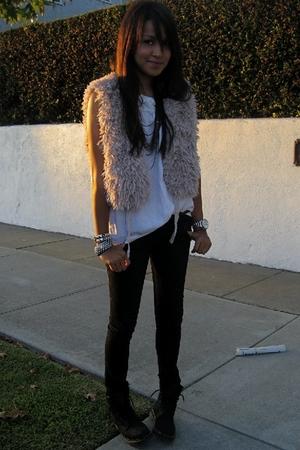 f21 vest - blouse - Kova & T jeans - Dr Martens shoes
