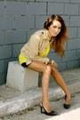 Puce-sequins-hallelu-shorts-beige-martin-osa-jacket-yellow-gap-shirt
