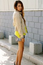 yellow Gap shirt - beige martin  osa jacket - puce sequins Hallelu shorts