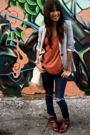 brown vintage boots - blue diy ripped BDG jeans - gray jersey Zara blazer