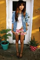 blue American Eagle shirt - pink JCrew shorts - brown Nine West shoes - white f2