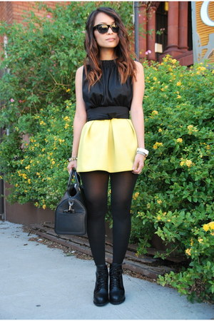 yellow neoprene asos skirt - black dakota Alexander Wang boots
