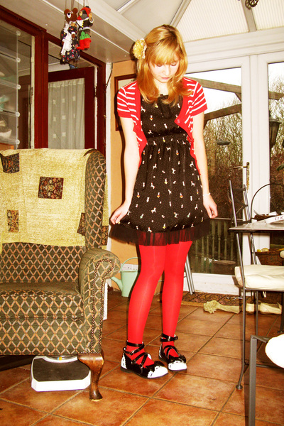 red Claires tights - black MButterfly dress - black GLP shoes - red F&F cardigan