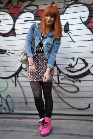 hot pink doc martens boots - sky blue denim H&M jacket - black collar Zara shirt
