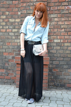 black maxi Forever 21 skirt - light blue denim Primark shirt