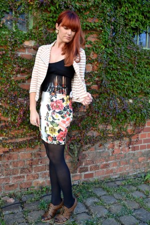 black tights - camel biker style blazer - white pencil skirt - dark brown heels