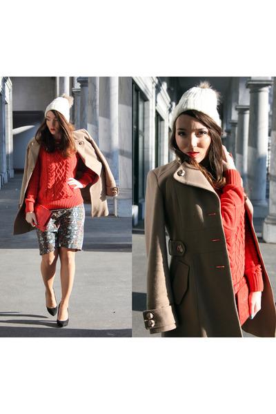 red crocodile Topshop bag - tan MORGAN coat - ivory H&M hat