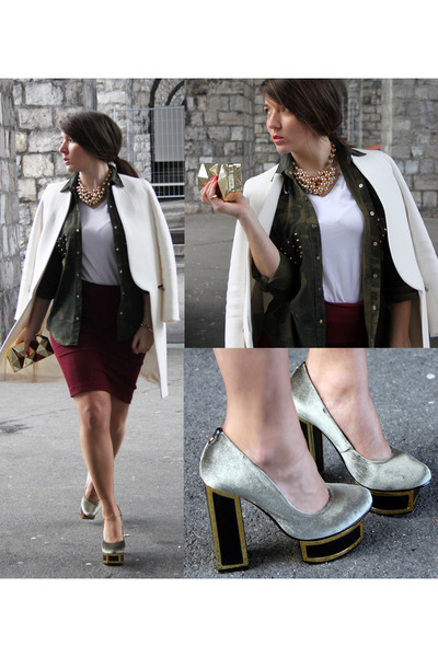 heather gray platform Kat Maconie heels - white minimal Zara coat