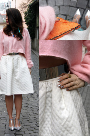 bubble gum diy cropped H&M jumper - ivory wide H&M Trend skirt