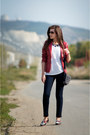 White-topsiders-unichel-boots-ruby-red-leather-new-yorker-jacket