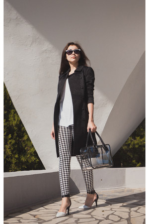 white JSimple leggings - black Love Republic coat - black transparent Zolla bag