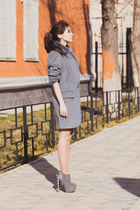 heather gray jacket New Yorker coat - heather gray faux suede Centro boots