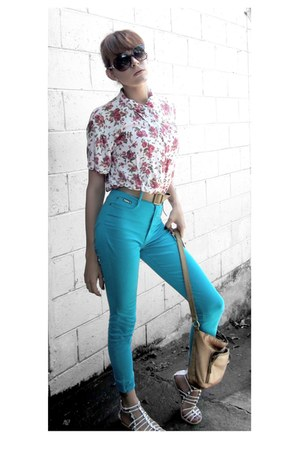 floral blouse - sand bag - aqua pants - sand belt - white sandals