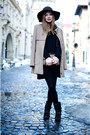 Dark-brown-tino-gonzález-boots-black-lefties-dress-beige-stradivarius-coat