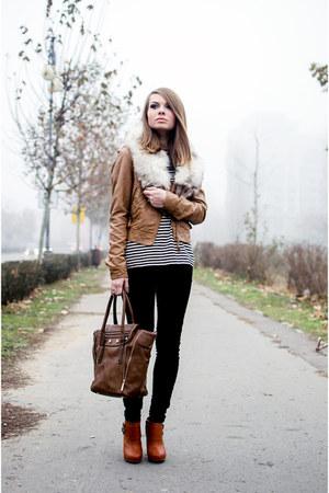 tawny Bershka jacket - tawny Bershka boots - black H&M pants - ivory H&M blouse
