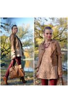 vintage sweater - Bershka boots - Bershka jacket