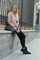 pink H&M blazer - black BLANCO bag - black H&M skirt