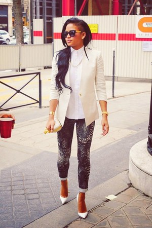 white Helmut Lang blazer - charcoal gray rag & bone leggings