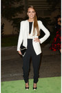 White-narciso-rodriguez-blazer-black-jimmy-choo-purse