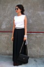 Black-skirt-white-blouse