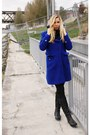 Leather-boots-black-boots-royal-blue-coat-black-scarf-black-pants