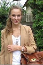 beige vintage blazer - blue Zara jeans - white H&M t-shirt