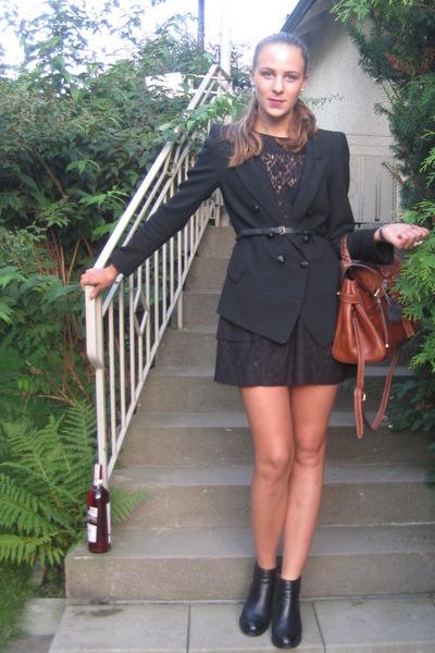 black Zara blazer - black Topshop dress - black Don Donna shoes