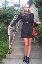black Zara blazer - black Topshop dress - black Don Donna shoes