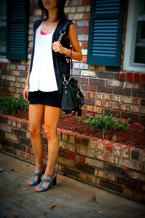 Rogan vest - Old Navy top - 7 for all mankind skirt - Old Navy shoes