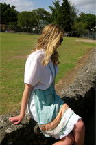 white Secondhand blouse - blue Secondhand skirt - green Secondhand accessories -