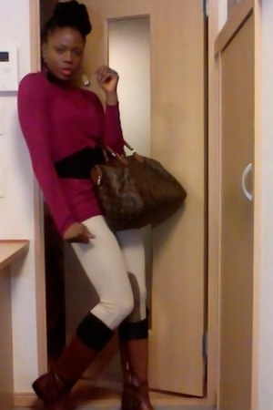 brown Zara boots - tan Zara leggings - dark brown Louis Vuitton bag