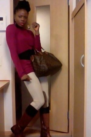 brown Zara boots - tan Zara leggings - dark brown Louis Vuitton bag