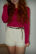 high-waisted H&M shorts - Primark belt - asos heels