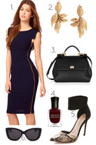 navy asos dress - black Dolce & Gabanna bag