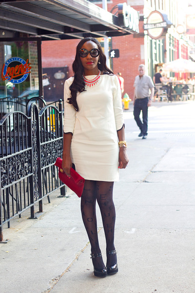 French Connection dress - asos tights - Prada sunglasses - Kurt Geiger heels
