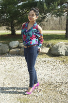 deep purple cold shoulder top - navy Forever 21 jeans - magenta Mossimo heels