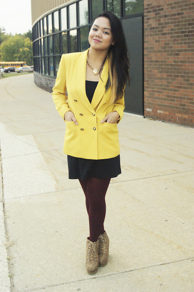 yellow thrifted blazer - light brown leopard print Forever 21 shoes
