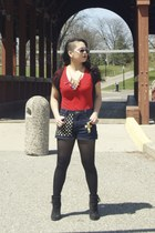 black fringe Forever 21 shoes - red cotton Mossimo shirt - black lace top