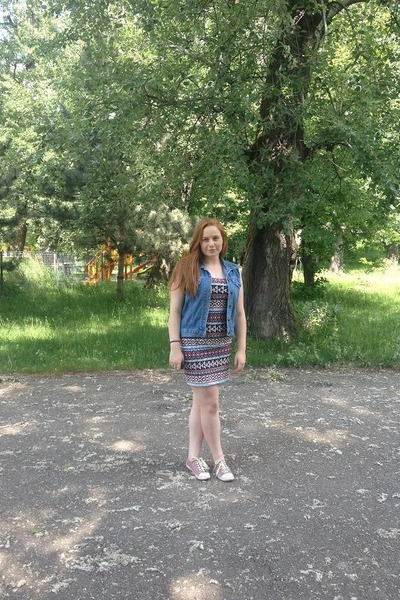 tribal new look dress - pink H&M sneakers - denim vintage vest