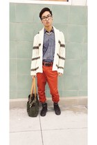 ivory Zara cardigan - navy Urban Outfitters shirt - tawny H&M pants
